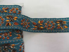 """1  1/2"""" Wide  Teal Green  Woven Jacquard Ribbon with Amber Beads  - 1  yard"""