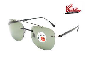 Ray-Ban-RB-4280-601-9A-55-Rimless-Light-Ray-Polarized-Green-Lens-Sunglasses