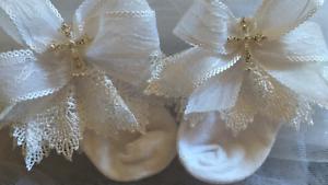 BABY GIRLS WHITE SPARKLING CROSS FRILLY-CHRISTENING BAPTISMAL HANDMADE SOCKS ☘️☘