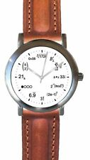 """""""Math Dial"""" Watch Has A Physics Equation At Each Hour Brown Pad & Stitched Strap"""