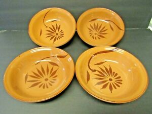 Mexican-Pottery-Terracotta-Redware-Red-Clay-Bowls-Set-of-4