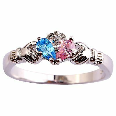 Claddagh Blue & Pink & White Topaz Gemstones Silver Rings Size 6 7 8 9 10 11 12