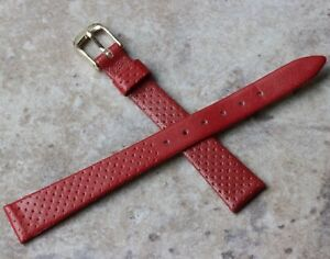 Stunning-red-pinpoint-13mm-ladies-vintage-watch-strap-Genuine-Leather-European