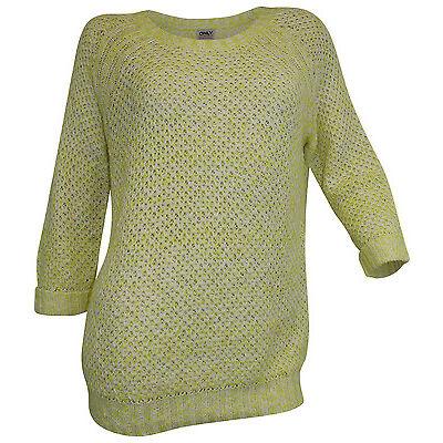 ONLY Pullover Gr. L 40 gelb meliert 3/4 Ärmel Grobstrick Pulli weich