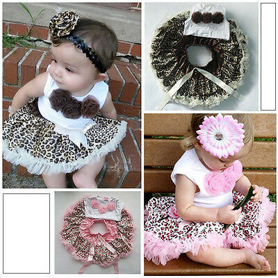 Baby 2 Pcs Girls Kids Tutu Dress Flowers Top+Skirt Leopard Outfits Clothes 1-4Y