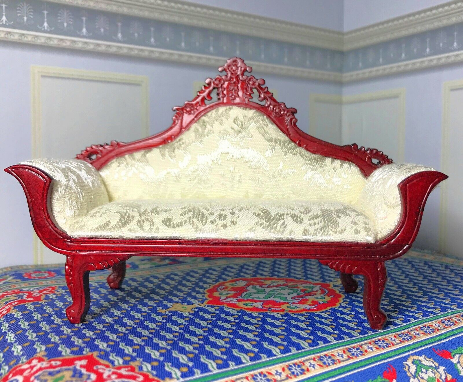 Dollhouse Miniature Wooden Mahogany  Furniture  Victorian Parlor Settee
