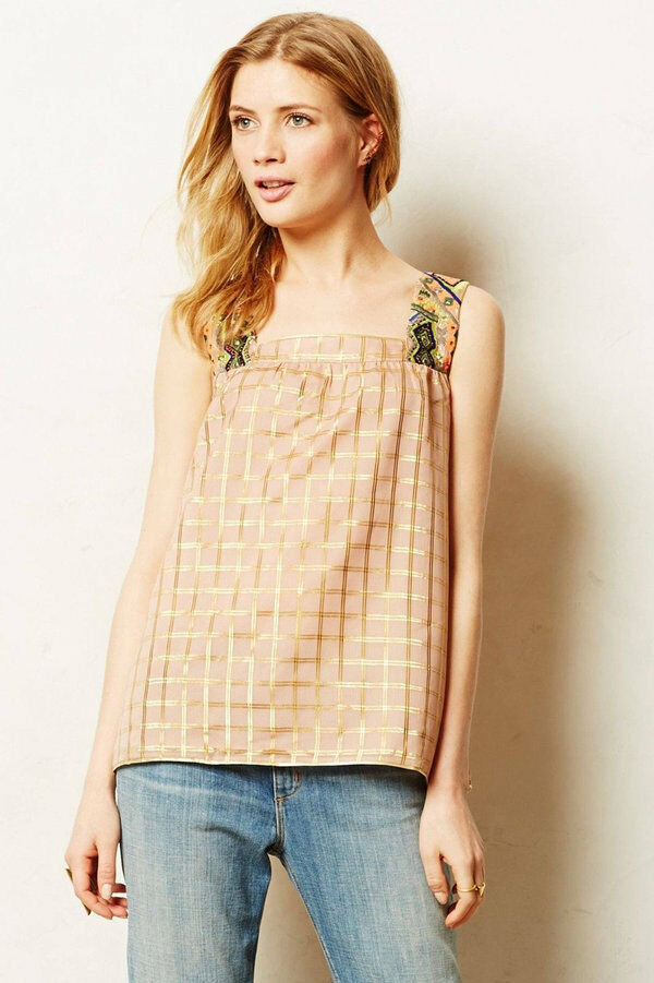 NWT- 128 Vineet Bahl Anthropologie Baby Doll Indian Embroidered pink Top Medium