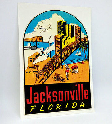 Jacksonville Florida Vintage Style Travel Decal, Vinyl Sticker, Luggage Label
