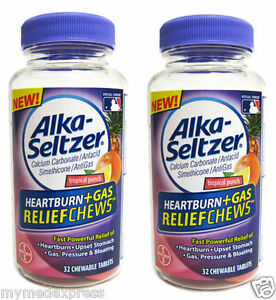 2 Pack Alka Seltzer Heartburn Gas Relief Chewable Tablets