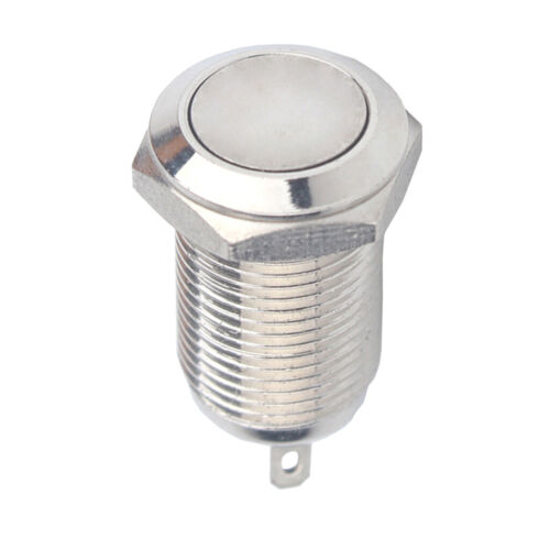 10mm Round Metal Push Button Latching Switch Waterproof Flat Head 36V 2A