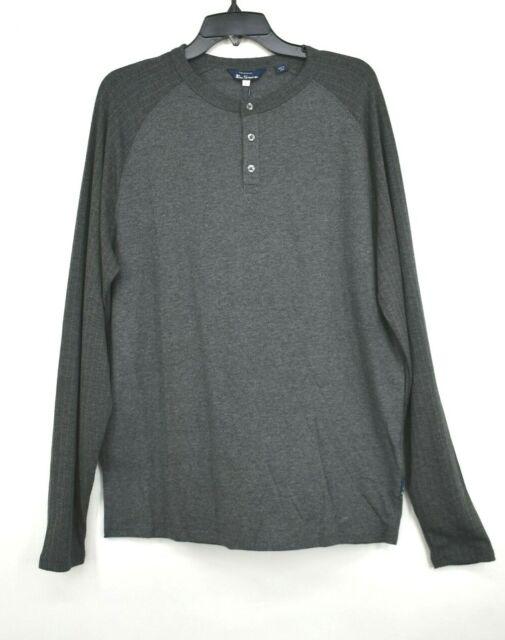 Ben Sherman Henley Shirt Homme M L XL Manche Longue 3 Bouton Col gris anthracite