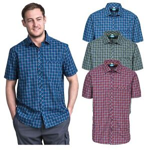 Trespass-Baffin-Mens-Short-Sleeved-Check-Shirt-Casual-T-Shirt-with-Chest-Pocket