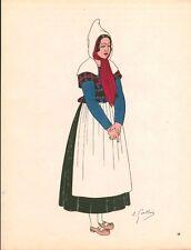 Gravure d'Emile Gallois costume des provinces françaises 1950 Champagne, Sainte-