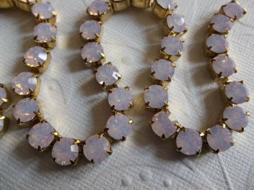 29SS Large Czech Crystals 6mm Pink Opal Rhinestone Chain Brass Setting