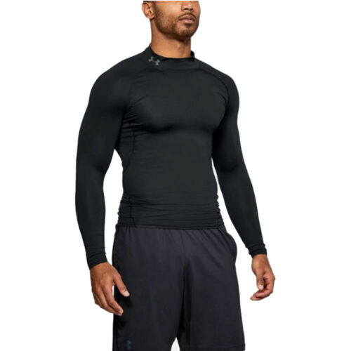 Under Armour Mens Heatgear Mock Compression Top Black Sports Running Breathable