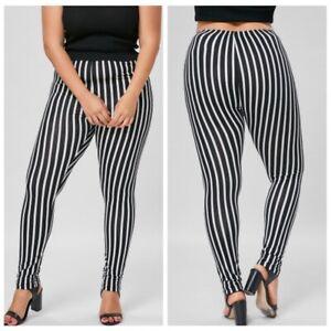 f34ce18c7bb9 Details about Women's Plus Size Ultra Soft Leggings Cute Striped Print  Elastic Stretch Pants
