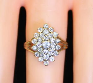 Vintage-10K-Yellow-Gold-2-3-Ct-RB-Diamond-Cluster-Waterfall-Ring-Size-6-5