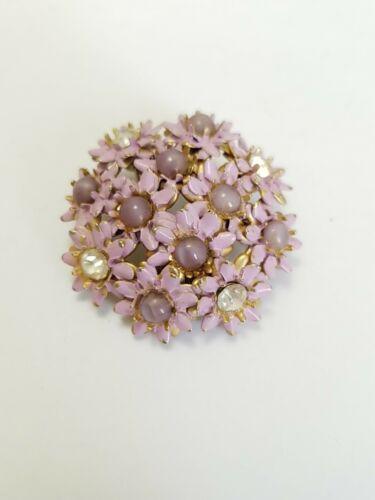 1940s Enamel Painted Metal Flower Pin