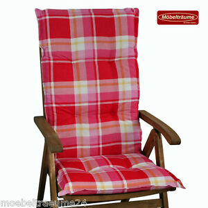 gartenpolster auflagen sitzkissen kissen f r hochlehner sessel in rosa rot karo ebay. Black Bedroom Furniture Sets. Home Design Ideas