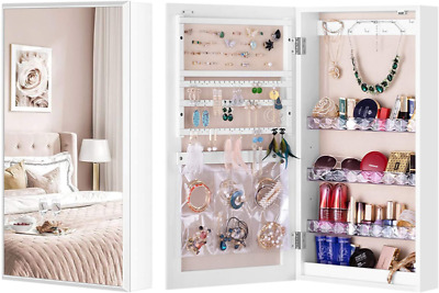 LUXFURNI Small Mirror Jewelry Cabinet Wall-Mount/Door ...