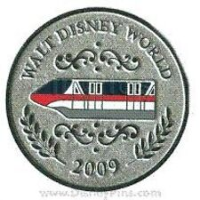 Disney Pin: WDW Character Coins Mystery Pin Collection - 5 Pin Set Monorail Only