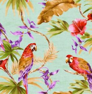 Wallpaper-Bright-Tropical-Palm-Leaves-and-Parrotts-on-Blue-Green-Background