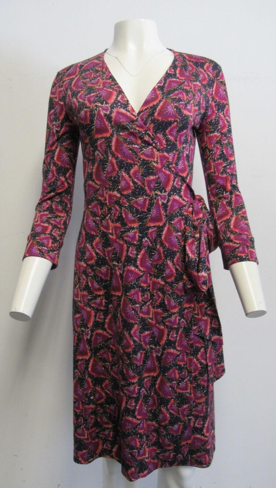 DIANE von FURSTENBERG Pink,Purple,Navy Abstract Firework Silk Wrap Dress SZ 6