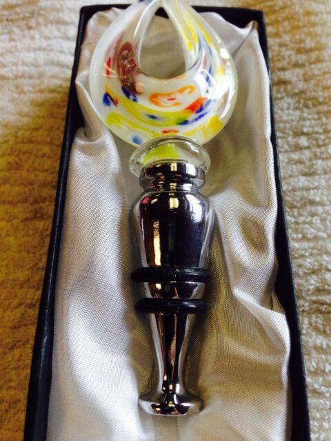 NEW Glass Art Glass Wine Bottle Stopper - art deco White