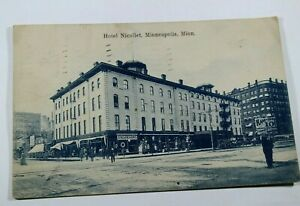 Vintage-Hotel-Nicollet-Minneapolis-MN-1908-Posted-Antique-Postcard-Collectible