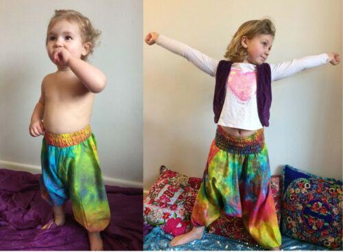 Childrens Tie Dye Stampa Harem Pantaloni Cotone Stile Hippy ALADIN BAMBINO Festival Estivo