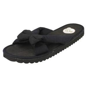 Ladies-Black-Spot-On-Fabric-Slip-On-Flip-Flops-Mule-Chintz