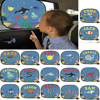 JELLYFISH UNDER THE SEA Personalised Car Sunshade Custom Window Kids Baby