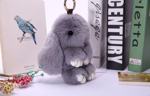 Porte-clés synthétique douce fluffy bunny rabbit fourrure Sac à main Pendentif Charm Pompon Keychain