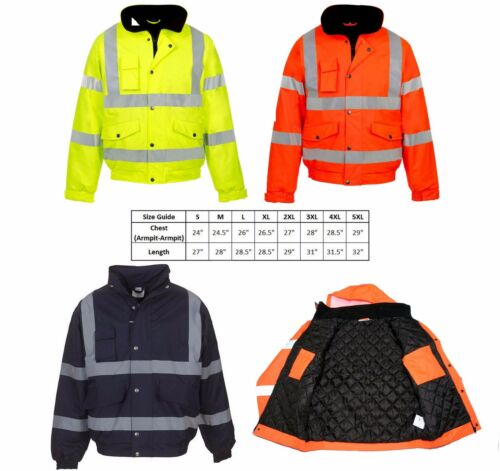 4XL HI VIZ VIS VISIBILITY HQ WATERPROOF BOMBER JACKET CONTRACTOR SECURITY