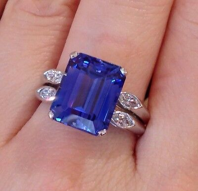 █Vintage OSCAR HEYMAN 10.77 ct Sapphire Ring in Plat-GIA certified UNHEATED █