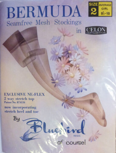 "Bluebird Bermuda Size 9 1//2/"" to 10/"" Vintage RHT Nylon Stockings in two shades"