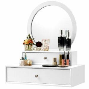 Wall Mounted Vanity Mirror Makeup Dressing Home Furniture Space saving W/2Drawer