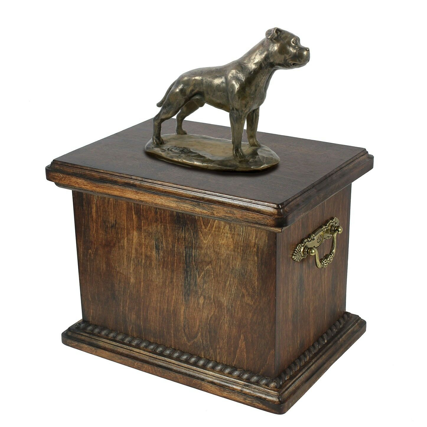 Staffordshire Bull Terrier type 4 - wooden urn with dog statue, Art Dog type 1