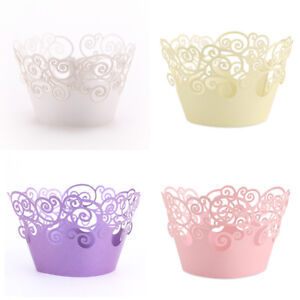 50-Filigree-vigne-Cupcake-Wrappers-Wraps-Colliers-Tasse-Mariage-Anniversaire-Baby-Shower