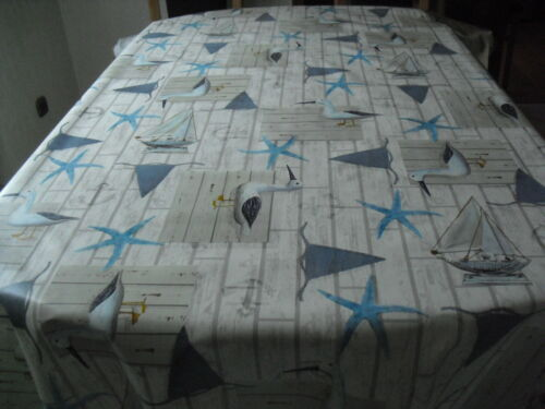 Tischdecke Wachstuch 140cm rechteckig ab 100 cm Länge 1m=4,99€ Möwe