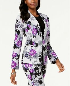 $220 Nine West Womens White Floral Print Kiss-Front Career Jacket Blazer Size 6