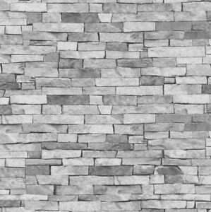 3d Stone Slate Brick Effect Wallpaper Grey Rock Wall Realistic Weathered P S 4000278554621 Ebay