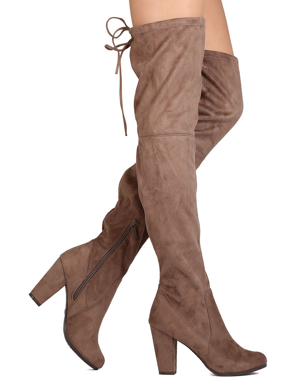 New Women Breckelles Gina-38 Faux Suede Thigh High Drawstring Block Heel Boot
