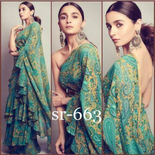 New Alia Bhatt Indian Bollywood Designer Ruffle Saree Wedding Party Wear Sari