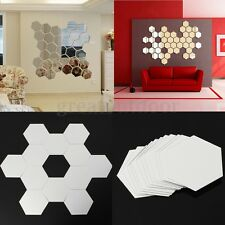 12PCS 3D Mirror Hexagon Vinyl Removable Wall Sticker Decal Home Decor Art