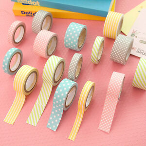 5Rollen Washi Masking Tape Klebeband Klebebänder Papier Deko Sticker DOD