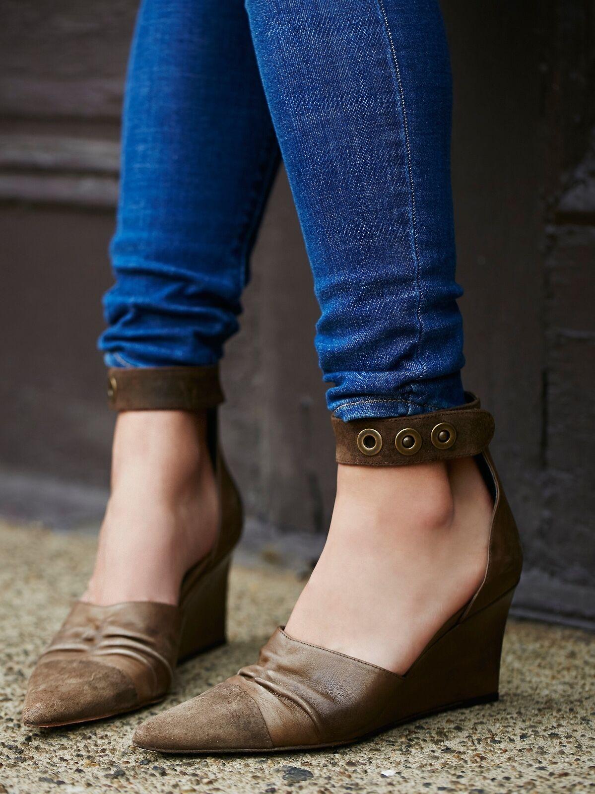 Free People Shadow Dancer Women's Brown Leather Wedge Heels 40 10M MSRP  228