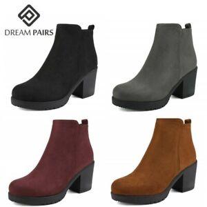 Womens Cowboy Ankle Boots Ladies Low Block Heels Mid Calf Zip Booties Shoes HOT!