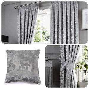 Curtina-ANDERTON-Silver-Light-Grey-Jacquard-Pencil-Pleat-Curtains-amp-Cushions