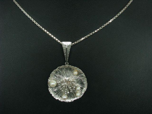 925 silver Kette & 835 silver Anhänger mit Akoya-Perlen Besatz   60,5cm   16,3g